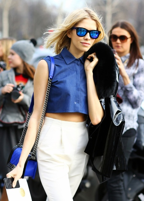 COBALT-AND-WHITE-STREET-STYLE-Elena-Perminova-Russian-Socialite-Fashion-Week-Spring-Summer-2013-Denim-chambray-crop-top-midriff-mirrored-blue-sunglasses-wayfarers-blue-black-cross-body-bag-HIGH-WAIST-WHITE-PANTS-TROUSERS